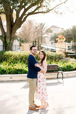 smiling couple during engagement photos