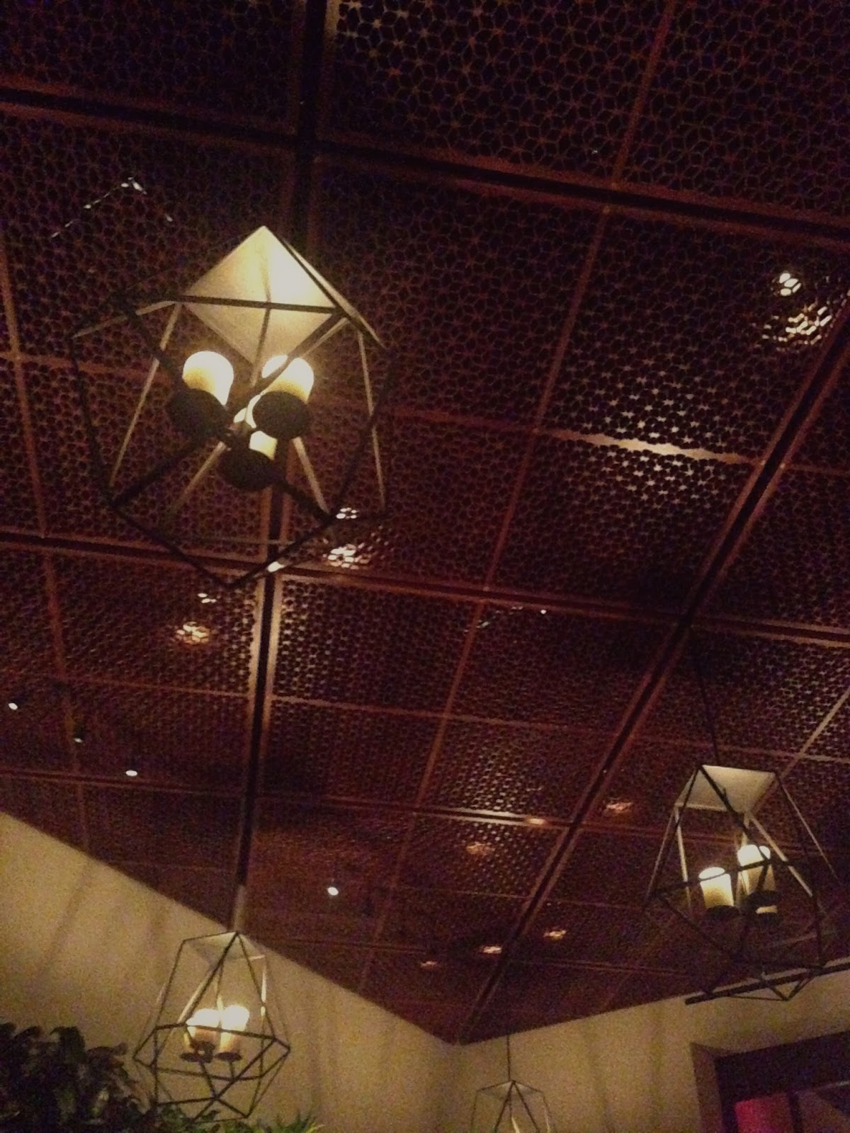 La Cave Hideaway Bar Restaurant Lounge ceiling fixtures at the Wynn Hotel