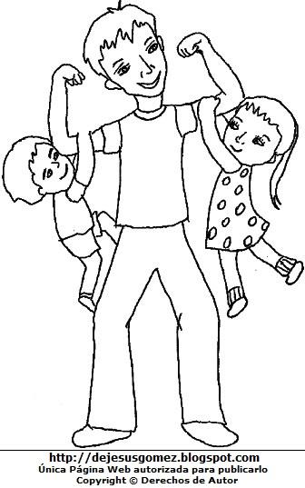 Imagen de hijos con papá para colorear pintar. Dibujo de hijos de Jesus Gómez