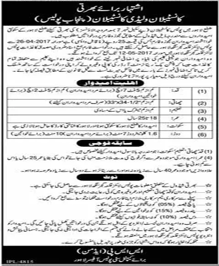 Constable Jobs In Punjab Police Lahore Male/female 25 April 2017