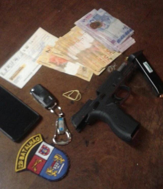 Policia Militar prende foragido e tira uma arma da rua
