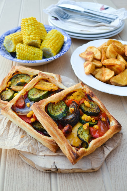 A simple colourful and delicious puff pastry tart. It's a doddle to make and will delight your family. It's easy on the bank balance too.