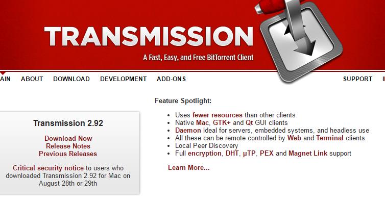 Allerta Transmission per macOS: installer infettato dal malware Keydnap