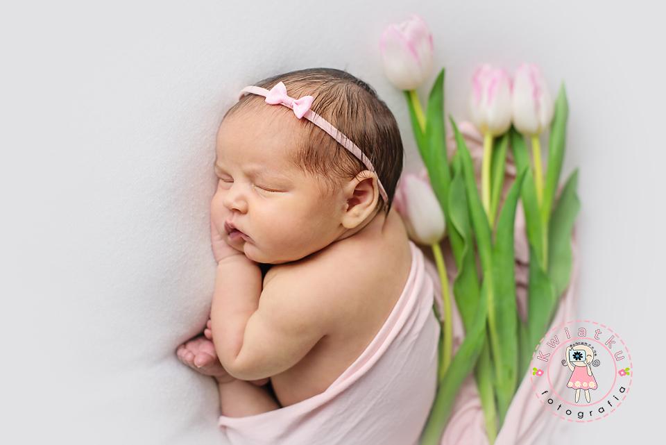 Dziewczynka śpi z tulipanami