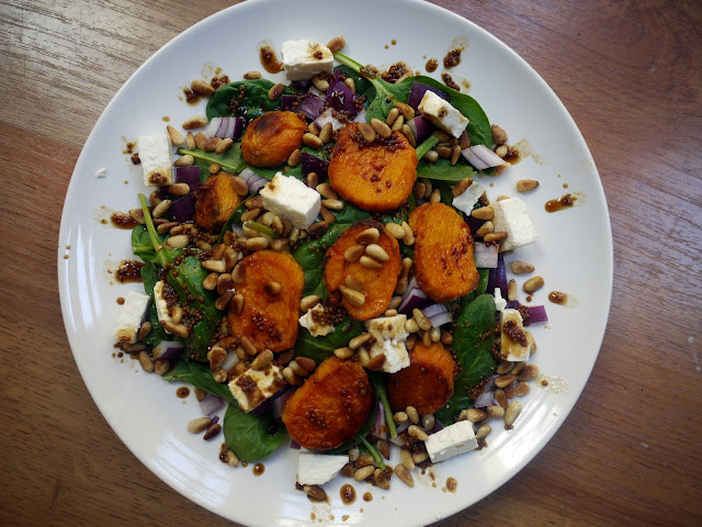 Sweet potato, feta and pine nut salad