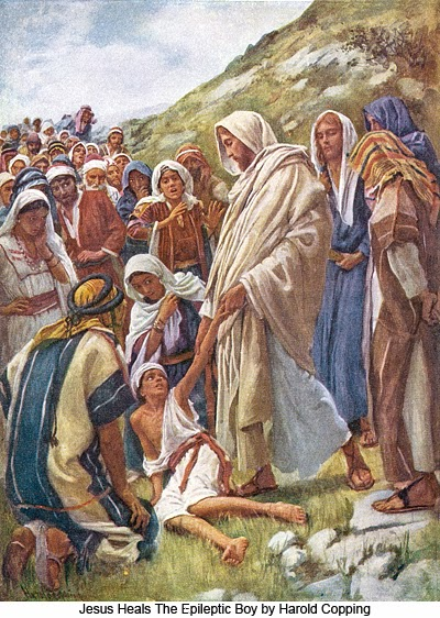 Jesus heals the epileptic boy by Harold Copping