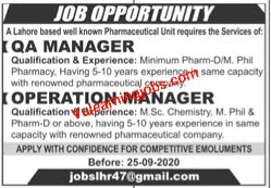 A Lahore Based Pharmaceutical Jobs 2020 For QA Manager & Operation Manager Latest