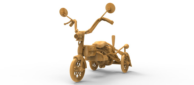 3D OLD MODIFIED BIKE