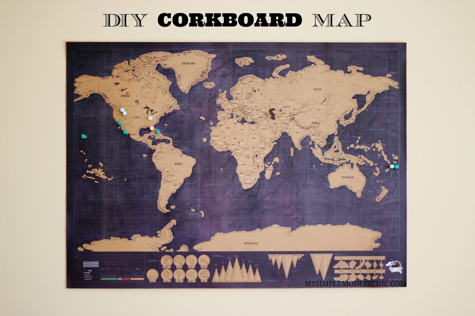 My Simple Modest Chic: Easiest DIY Cork Board Map