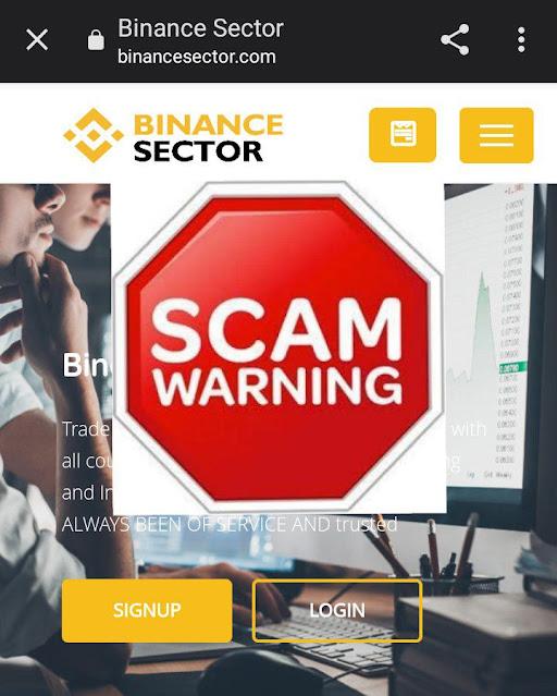 Scam Binance phishing site