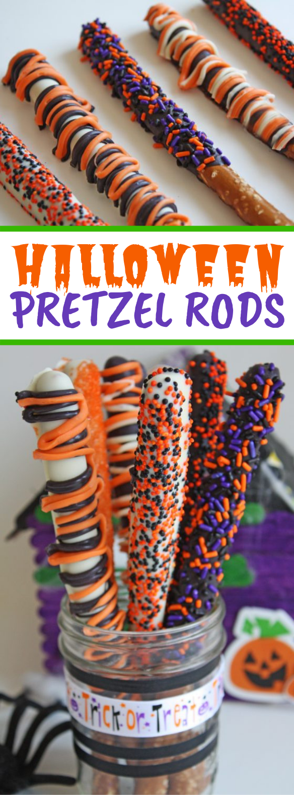 Make These Quick and Easy Halloween Pretzel Rods! #desserts #snacks