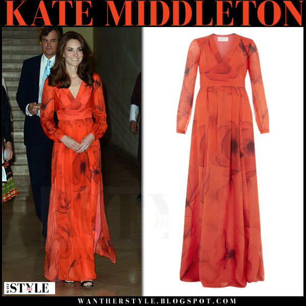 Kate Middleton in red flower print long gown beulah london juliet what she wore royal visit bhutan
