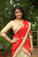 Akshara in Red Saree Golden Choli at LV Movie Makers Production No 1 Movie Opening ~  Exclusive 039.JPG