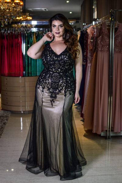 vestido de festa plus size preto