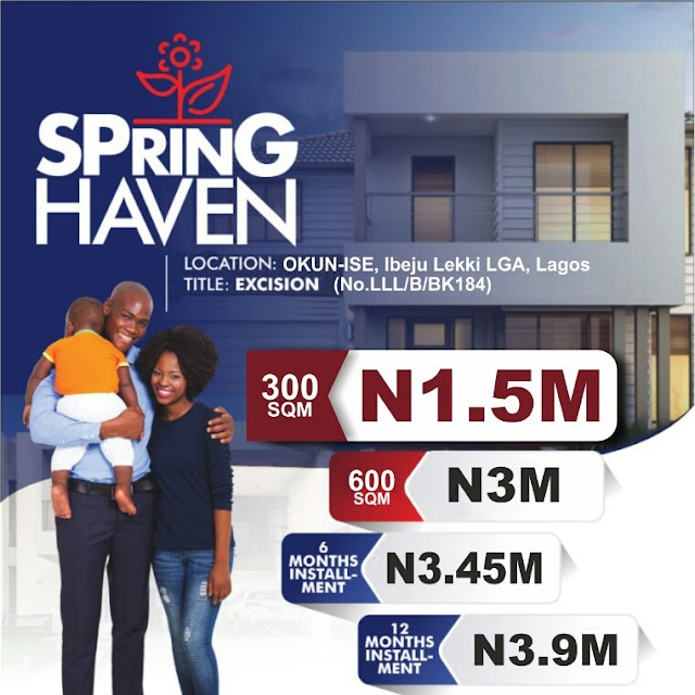 SPRING HAVEN, OKUN ISE, IBEJU LEKKI, LAGOS ( LAND FOR SALE)