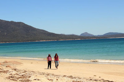 Hiking, Wine Glass Bay, Tasmania, Australia