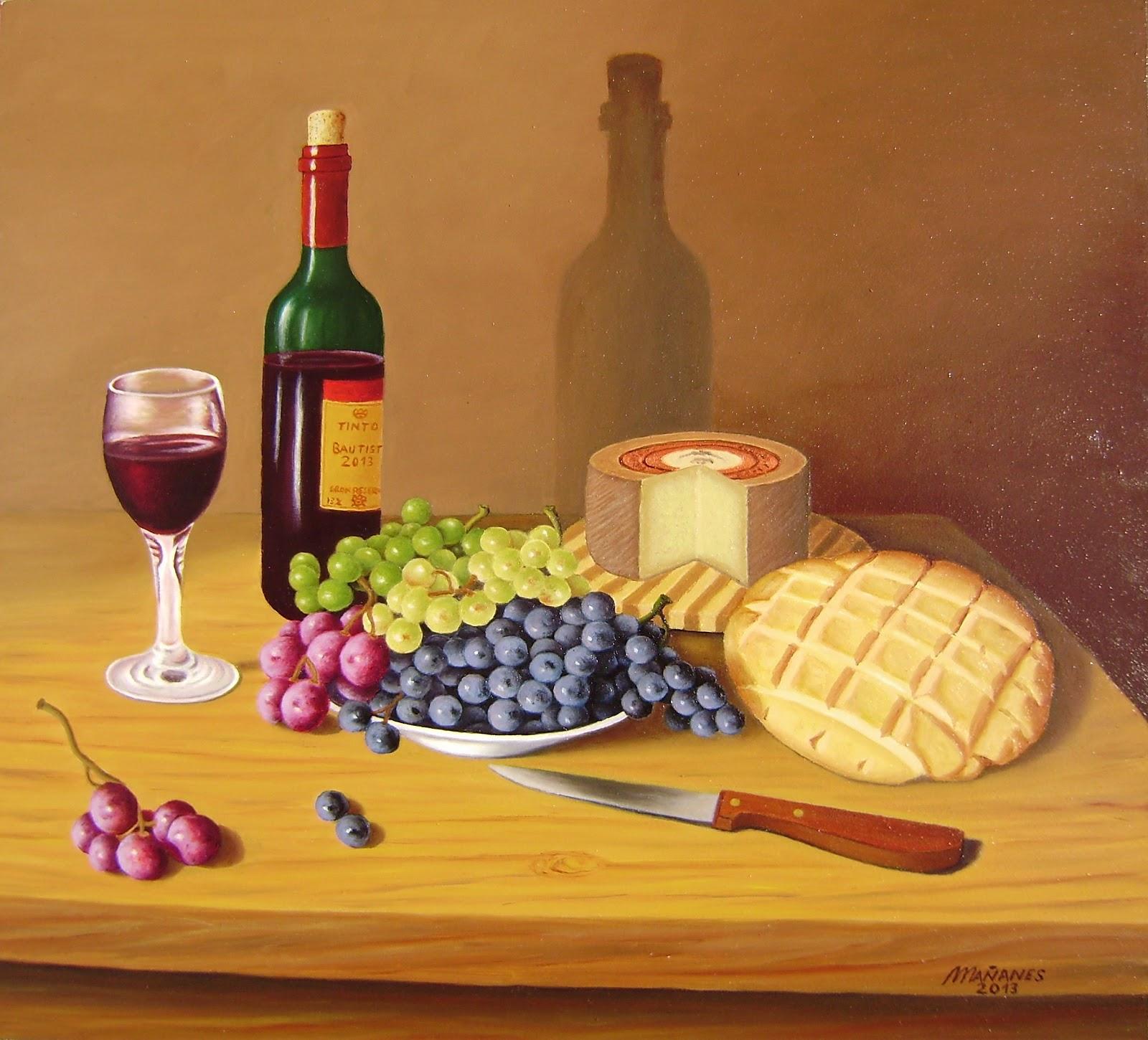 La Pintura De Ma 241 Anes Uvas Queso Pan Y Vino