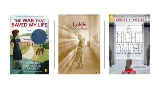 Image of Middle Grade Novels: The War that Saved My Life, Lyddie, and A Night Divided