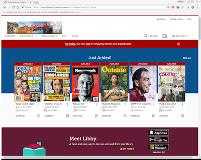 screenshot of Overdrive website - with magazines such as Newsweek, ESPN, House Beautiful and more