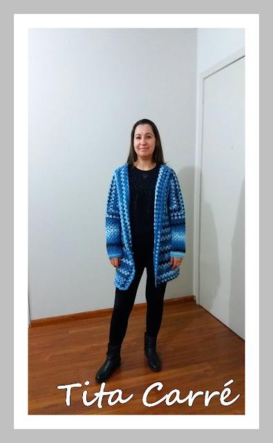 Casacão Azul em crochet