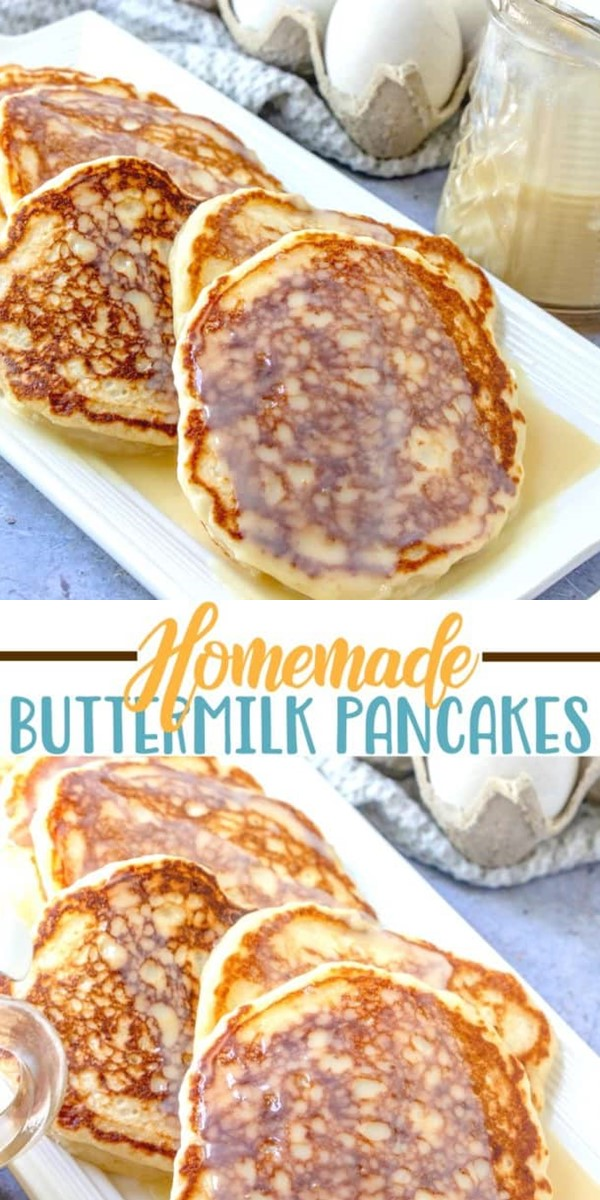 BEST BUTTERMILK PANCAKES WITH MAPLE BUTTER SAUCE #breakfastideas