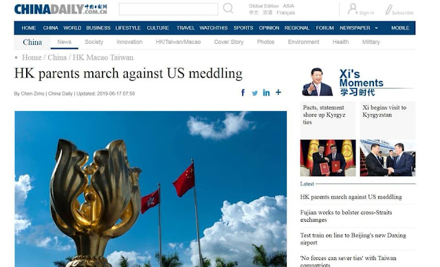 Báo Trung Quốc nói nhiều người Hong Kong biểu tình để 'phản đối Mỹ'