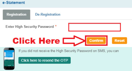 how to register for e-statement for sbi account