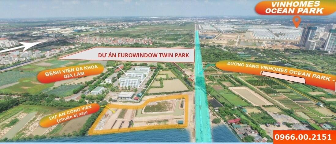 Eurowindow Twin Parks Gia Lâm nhìn từ trên cao.