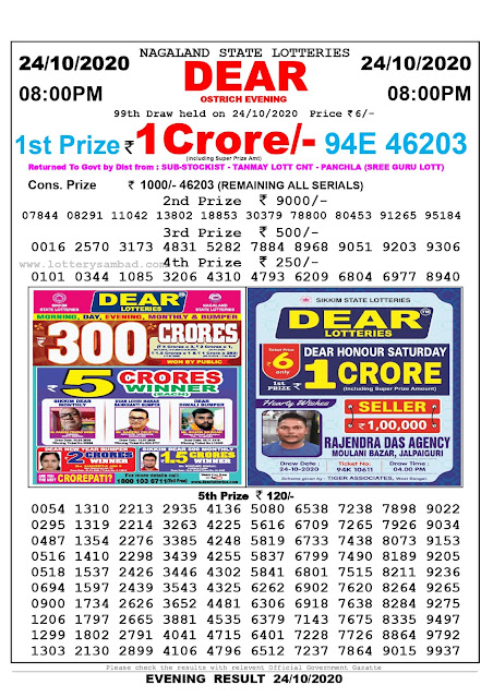 Lottery Sambad 24-10-2020 Today Results 8:00 pm, Nagaland State Lottery Sambad Today Result 8 pm, Sambad Lottery, Lottery Sambad Live Result Today