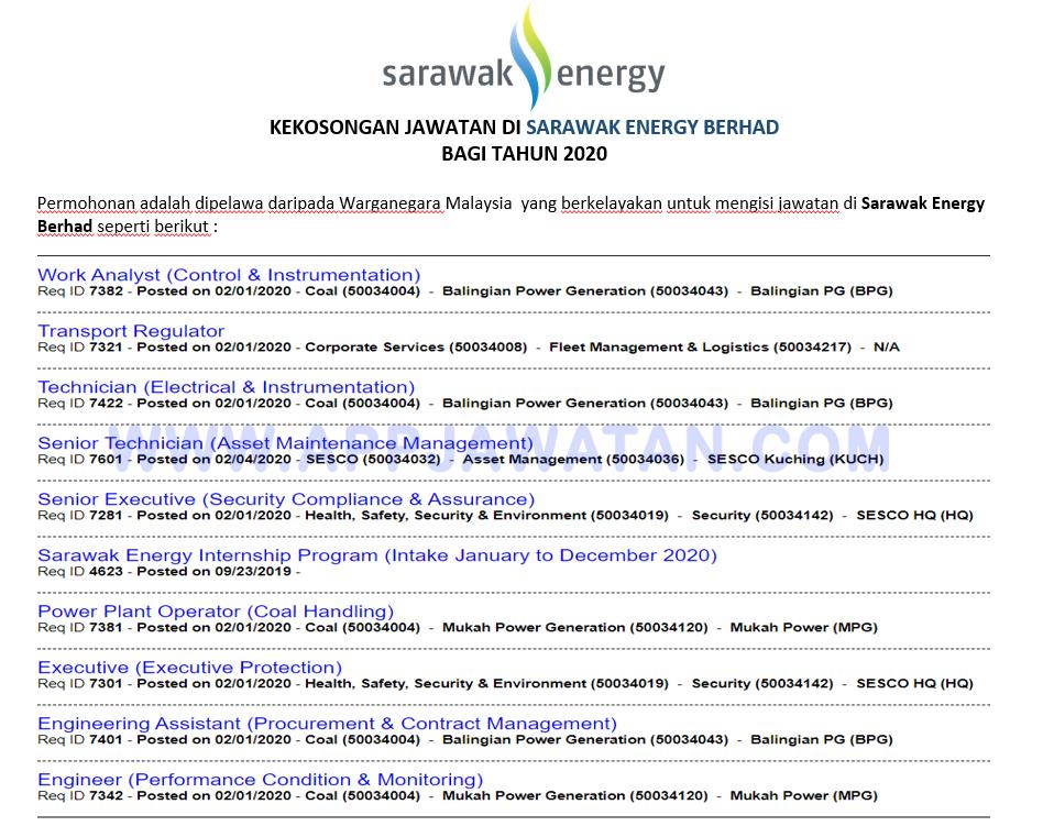 Jawatan Kosong Terkini Di Sarawak Energy Berhad Appjawatan Malaysia