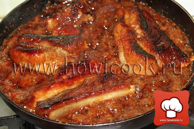 Карамелизованные свиные ребрышки в пиве рецепт пошаговые фото