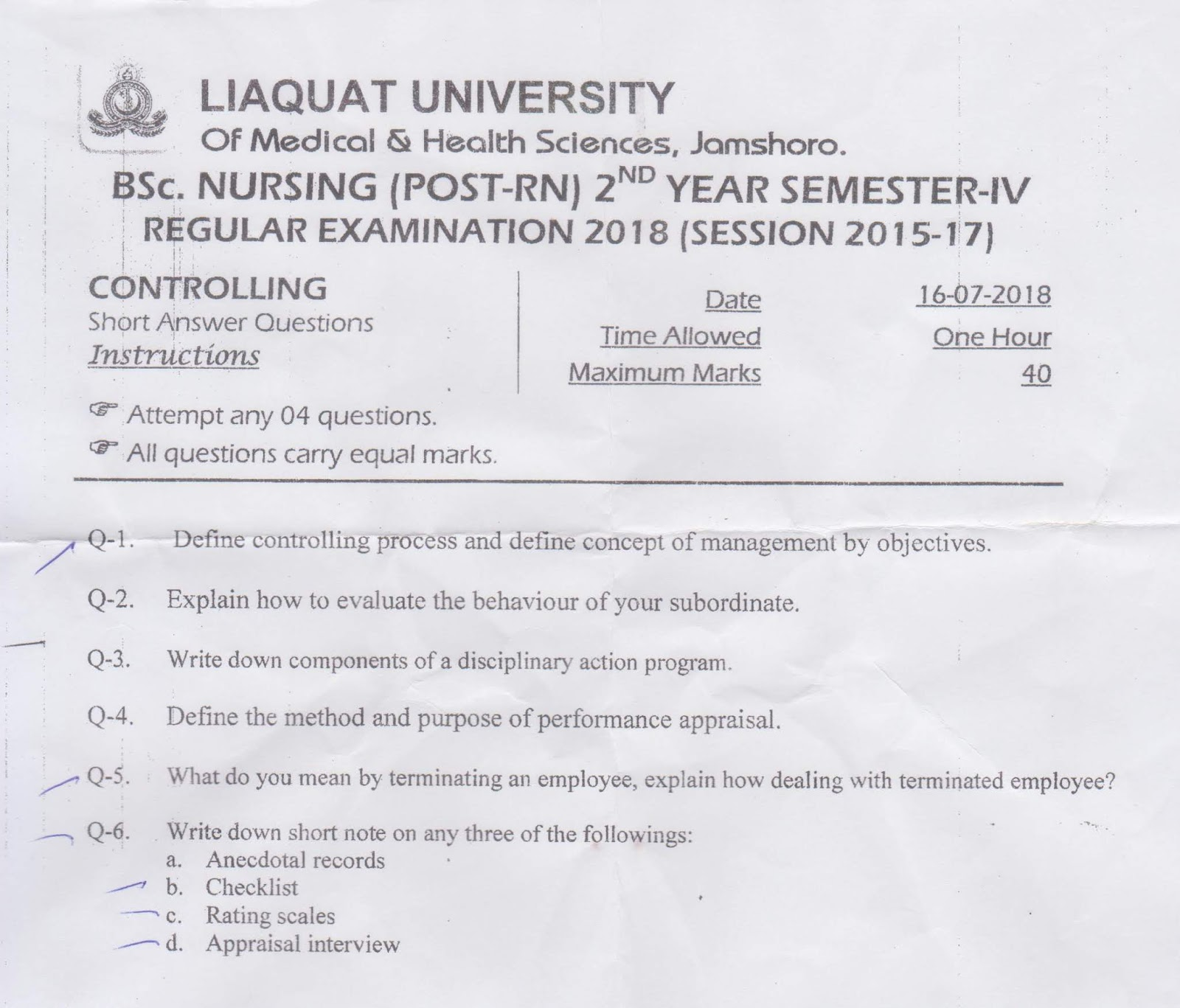 BSN Past Papers Semester 4