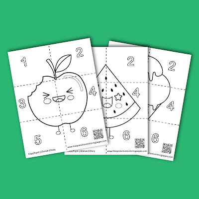 cute food squares puzzle coloring pages to print, free printable preschool coloring pages , free pdf book download ,(apple, watermelon,ice cream,pineapple,cookie,pizza,strawberry,banana,pumpkin)