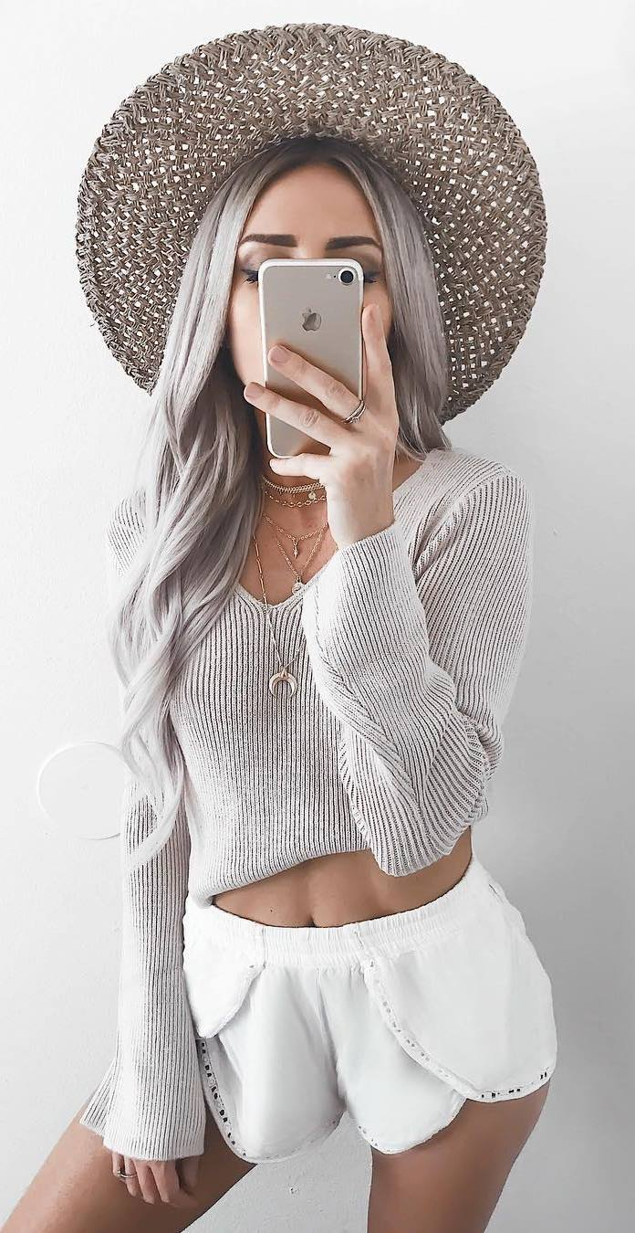 trendy outfit / hat + sweater + white shorts