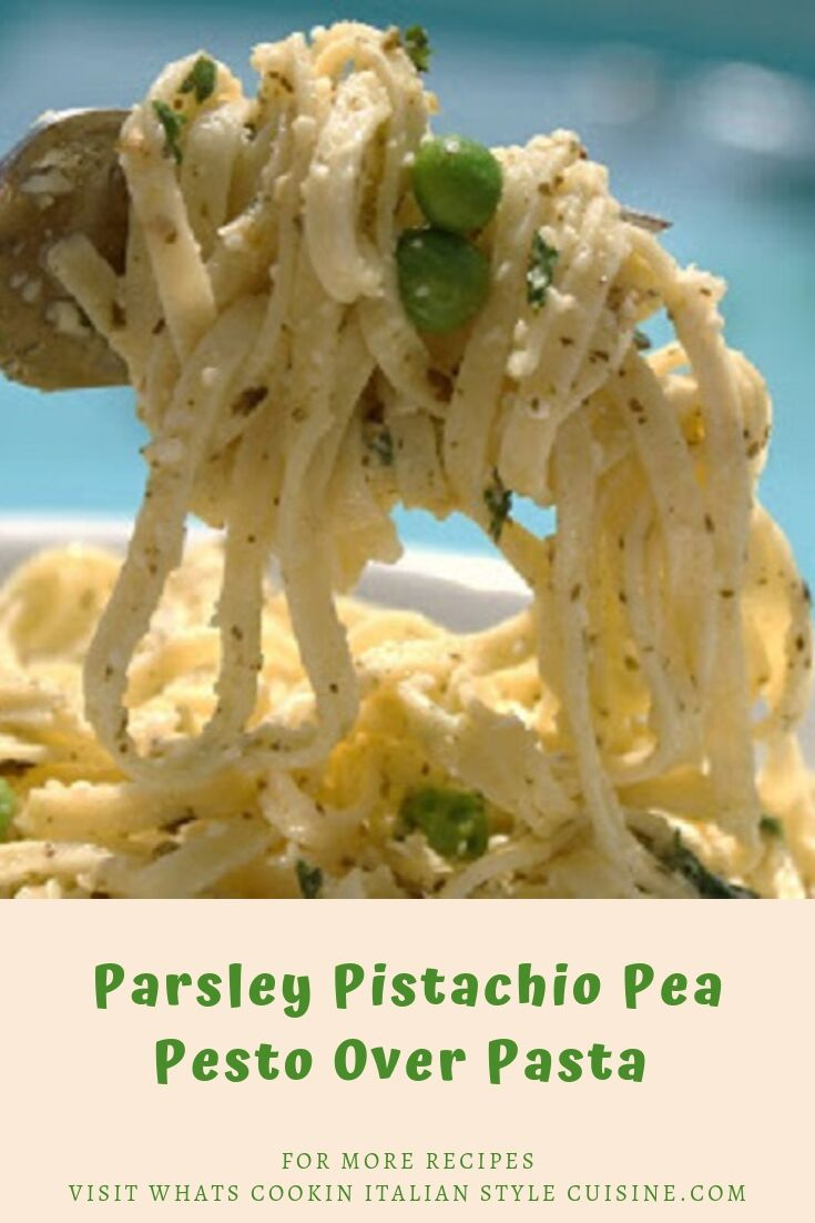 Peas with pesto over pasta photo for pinning for later
