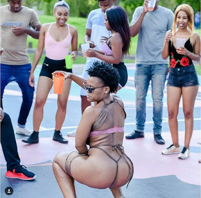 Photos: Controversial South African dancer, Zodwa Wabantu wears practically nothing on the set of new music video