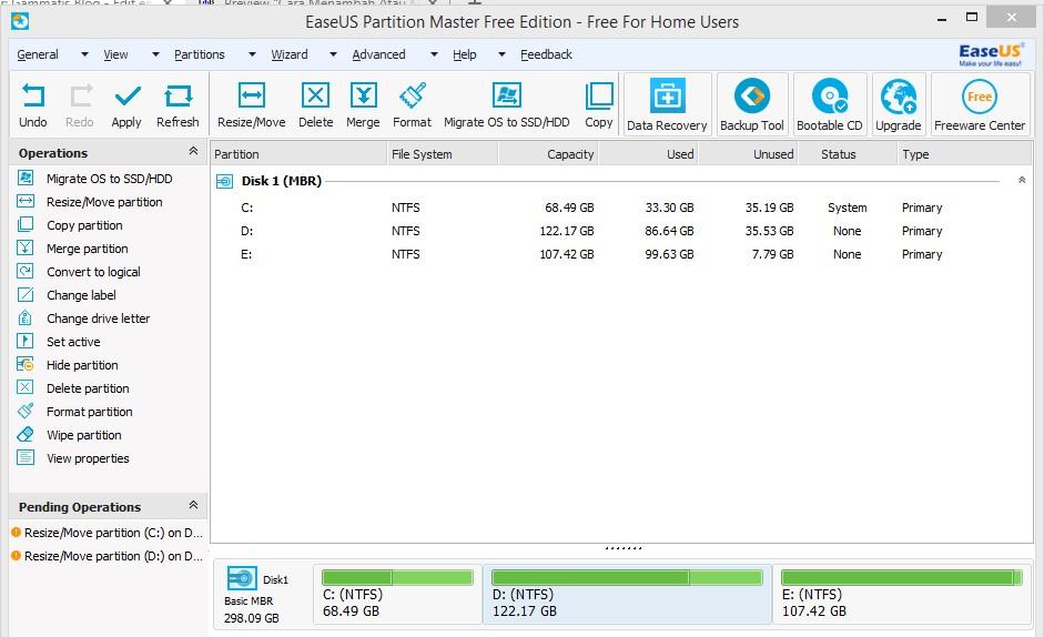 Cara Menambah Atau Mengurangi Partisi C, D dan E di Windows 7, 8 dan 10