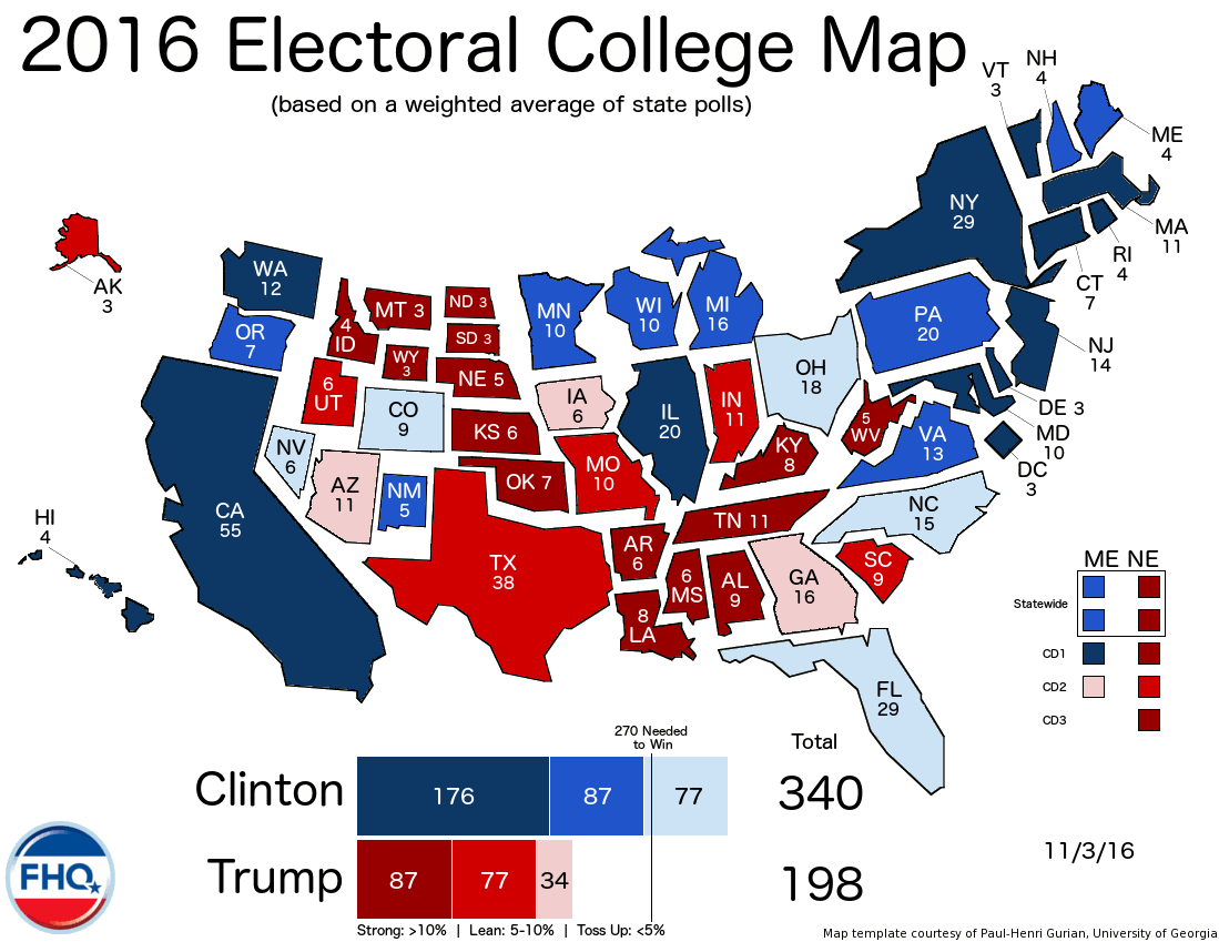 Frontloading Hq The Electoral College Map 11 3 16