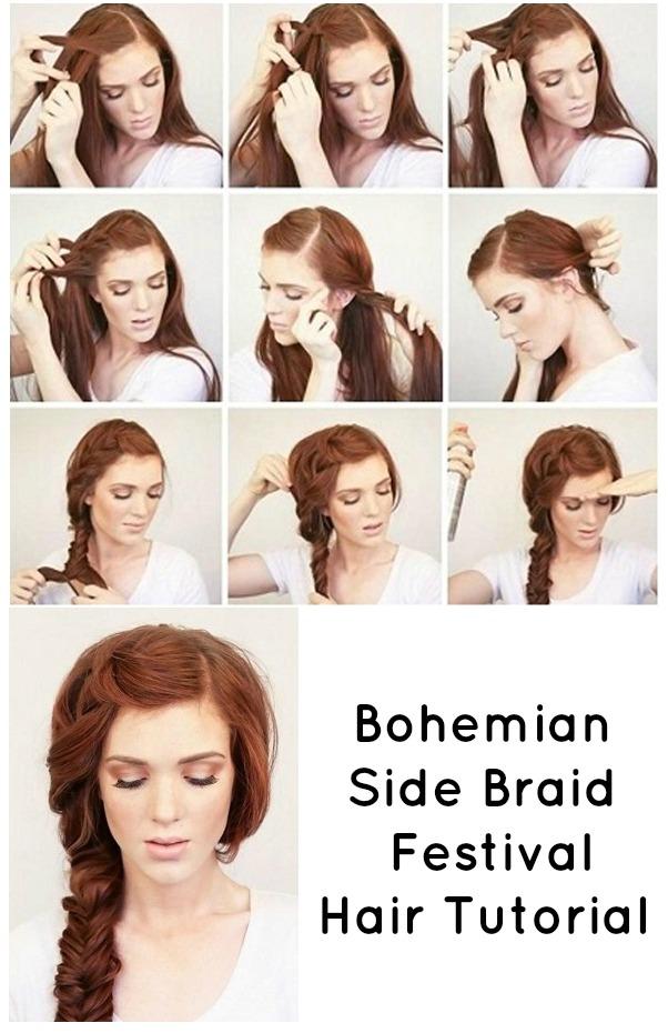 Bohemian Side Braid Festival Hair Tutorial