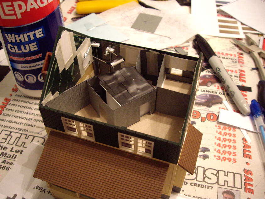 Second floor custom interior scene with installed styrene light diffuser box for a Kate's Colonial Home kit