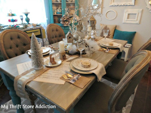 All That Glitters: Rustic Glam Birch Slices and Tablescape mythriftstoreaddiction.blogspot.com Rustic glam tablescape and dining room
