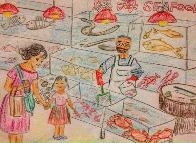 momdaughter hk hongkong fishmarket drawing art sketch