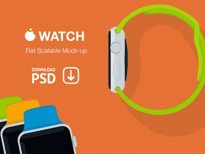 Free PSD Apple Watch Flat Mockup