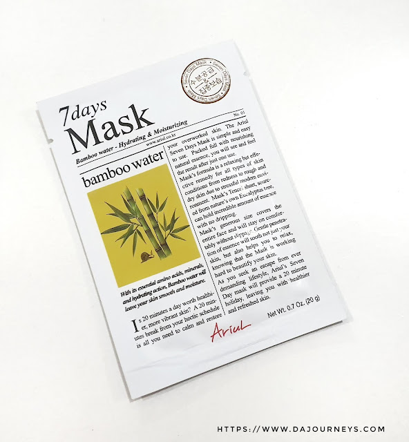 Review ARIUL 7 Day Masks Bamboo Water
