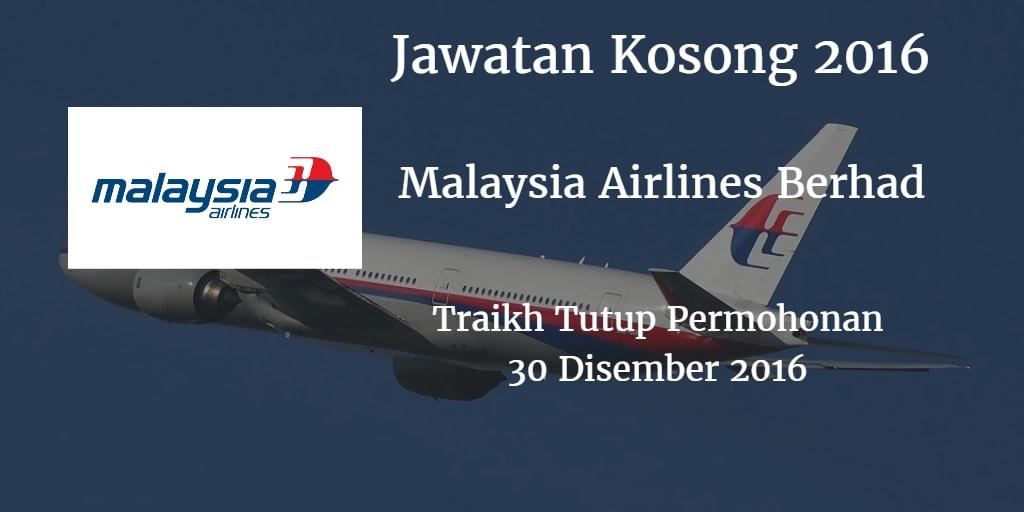 Jawatan Kosong Malaysia Airlines Berhad 30 Disember 2016