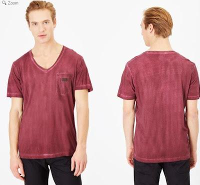 camiseta de Diesel para hombre color burdeos