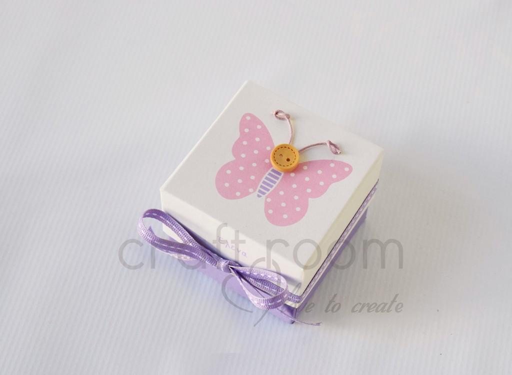 d95f93ebcb ... μπομπονιέρες για βάπτιση με θέμα πεταλούδα ροζ με κουμπάκι