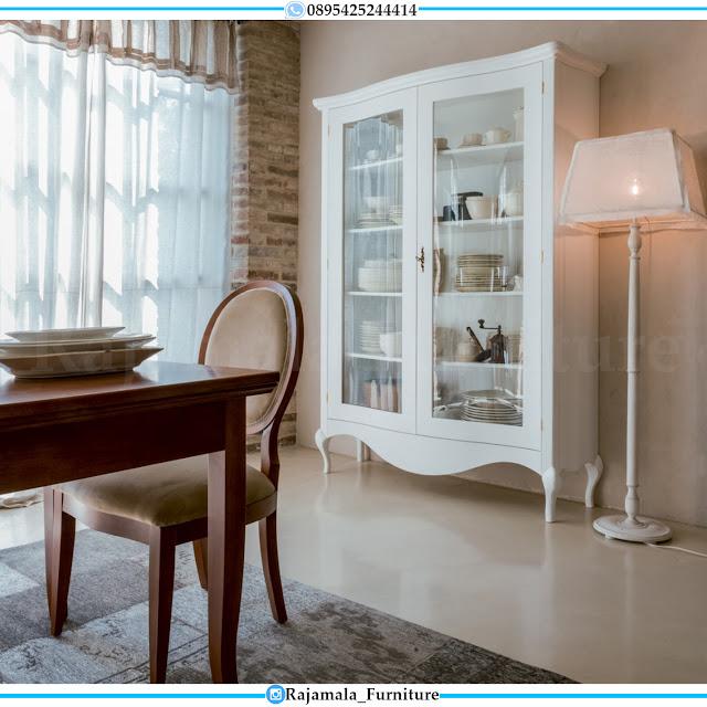 Lemari Pajangan Kaca Classic Luxury Putih Duco Terbaru Mebel Jepara RM-0427