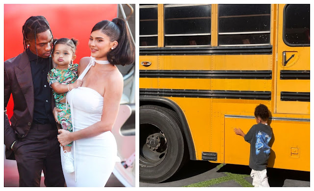 Travis Scott surprises his Daughter Stormi Webster, with a yellow bus (photos)