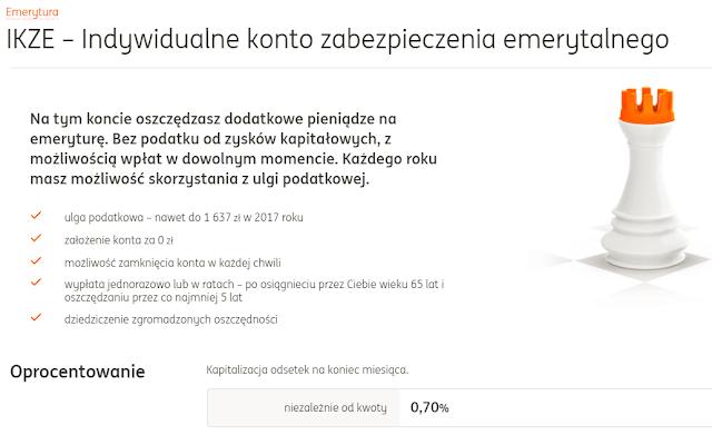 Indywidualne konto zabezpieczenia emerytalnego ING Bank Śląski opinie